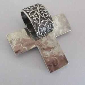 large cross pendant reversible sterling silver